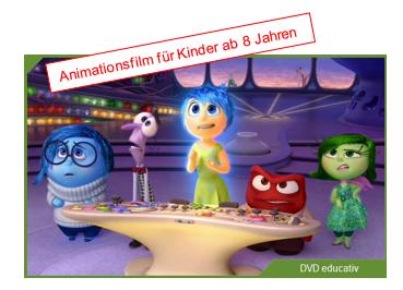 Fünf Animationsfiguren aus dem Film stehen vor einem Schaltpult